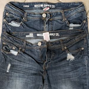 Two pair of mossimo distressed skinny jeans